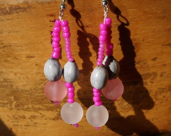 earrings with natural seeds and seed beads