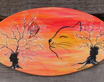 painting on wood: guess who lurk in tree trunks, butterfly, cat