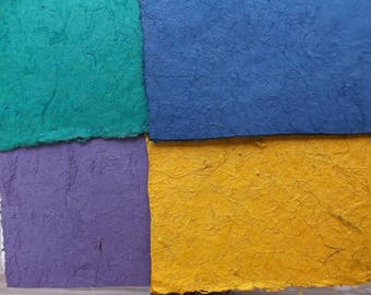4 sheets of coconut fiber - 4 colors - green - purple - blue - yellow