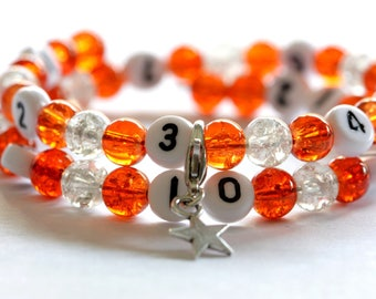Nursing bracelet on memory wire form of 55mm with glass beads Crackle orange and clear