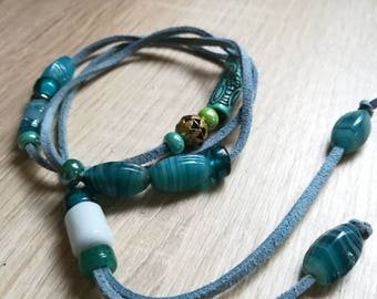 Lace Necklace blue/turquoise glass beads