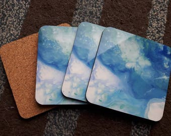 Blue galaxy abstract painting coasters, abstract print, abstract art, set of coasters, coasters for drinks, fluid art, fluid print