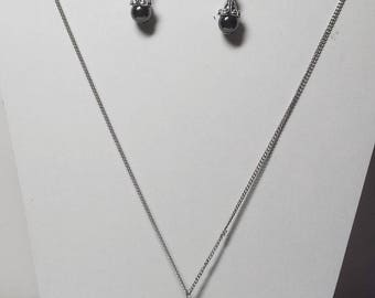 Adornment necklace and earrings hematite 1