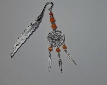 Bookmark feather dream catcher orange