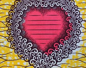 Fabric Wax Dutch JULIUS heart messages