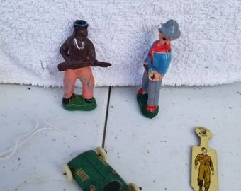 Lot of Vintage Toys Cowboys and Indians and Racecar and Gumby