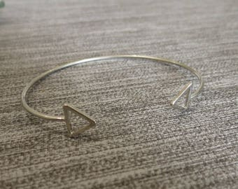 Bangle, arrow, triangle, silver Cuff Bracelet
