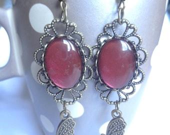 Red baroque earrings deep Butterfly