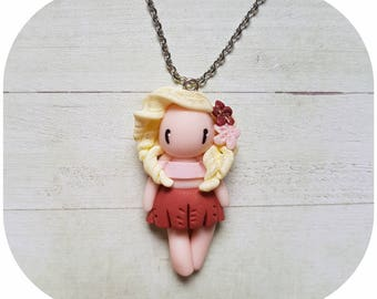 "Necklace little girl ""blonde hair, red/pink garment"" (flowers collection)"