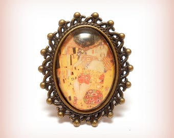 """""""Klimt - the Kiss"""" Oval cabochon ring"""