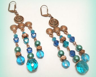 """Earrings copper Gypsy """"Foam beads!"""""""