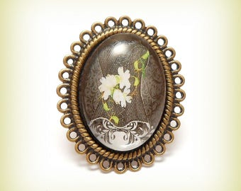 """Ring Cabochon """"Corset lace flowers"""""""
