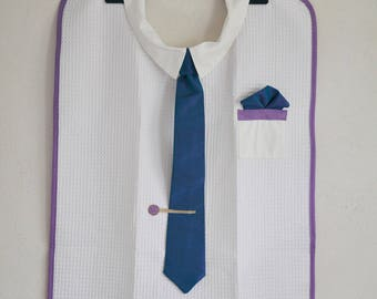 Adult bib with purple/turquoise moire mens tie