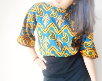African wax print blouse