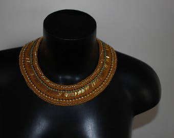 """Necklace Choker modern ethnic chic crochet pattern """"End of the Sun"""""""
