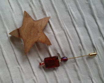 Red glass beads pin