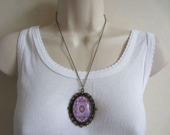 Purple mandala pendant necklace