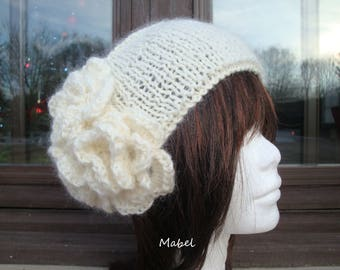 Off white headband knit, mohair and lurex, soft and warm, crocheted flower