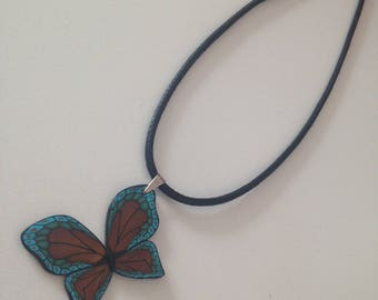 """""""Butterfly blue and gold"""" polymer clay necklace"""