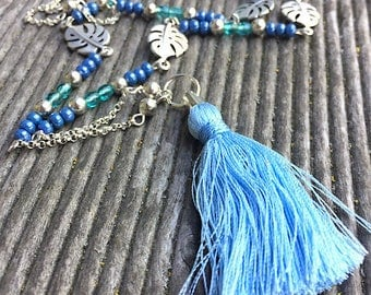 long necklace silver tropical leaves and tassel necklace