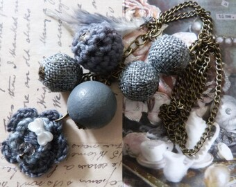 fancy sautoir❀ ✿ ❁ wool and grey crochet necklace