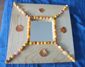 Natural pine with orange, yellow and pink shells frame mirror (10 cm x 10 cm)