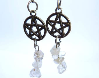 Silver jewelry bronze pentacle wicca witch woman venus hair rutilated quartz earrings
