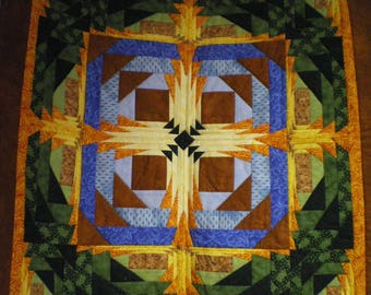 """""""autumn cross"""" patchwork to cover a table or decorate a wall"""
