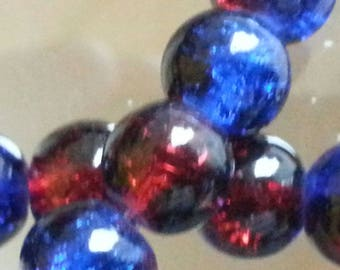 50 glass beads Crackle strands, round, dyed, deepskyblue / red, 8 mm in diameter, hole: 1 mm.