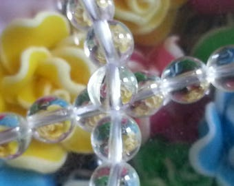 10 6 mm round rock crystal beads, 1 mm hole