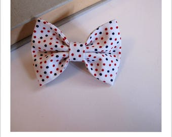 """hair bow """"clip - me"""" white red and blue polka dots"""
