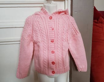 Hand knitted pink jacket hooded 6 years.