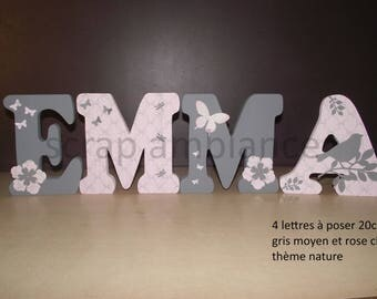 name wood, wood, wooden name letter, letter for personalized NATURE 20 cm tall