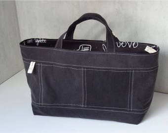 Bag Cabanel Brown recycled denim, chocolate, double thick cotton Brown writing
