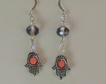 Earrings hand of Fatima or hand of Miriam