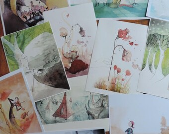 illustrations - Print Watercolour/watercolor - A3 size - the visuals
