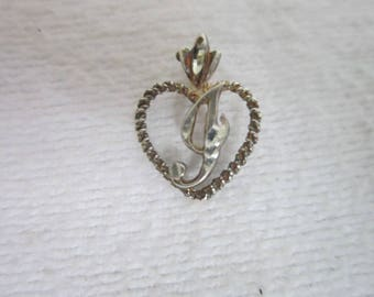 """Sterling Silver Heart with a Monogram  """" G """" Necklace Pendant or Charm"""