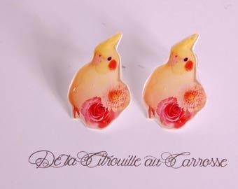 Simple Stud Earrings yellow parakeet and flowers