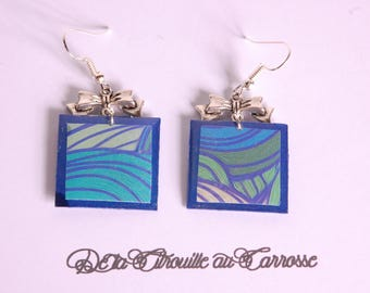 Abstract pattern, blue square earrings