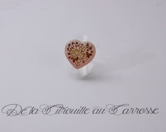 Pink heart, rose gold ring