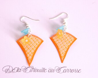 Japanese motif, orange and white earrings
