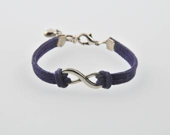 Infinity suede bracelet and heart