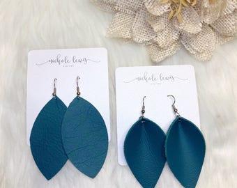 Beachy Blue Genuine Leather Earrings