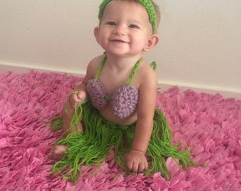 Newborn Crochet outfit, Hula Girl, Hawaiian Outfit, photography prop