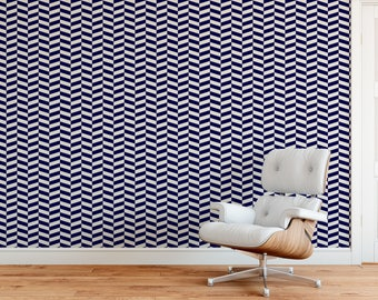 Midnight Modern Herringbone, Dark Blue, herringbone wallpaper, reusable and removable peel and stick wallpaper, blue, customize a color