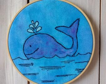Whale Watercolor Mixed Media Hoop Art