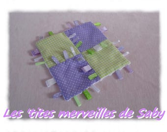label/purple gingham baby blanket