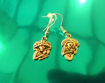 Couples earrings Mexican skull bandidos skull day of the dead goth lolita punk rock