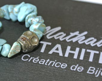 Ethnic Turquoise stone and Calaveras Pyrite gemstone ring