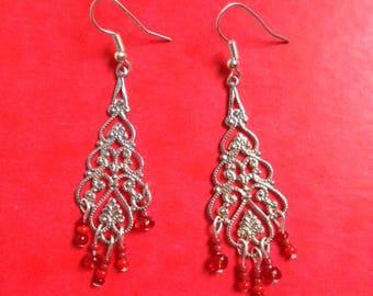 pair of mini chandelier earrings red beads
